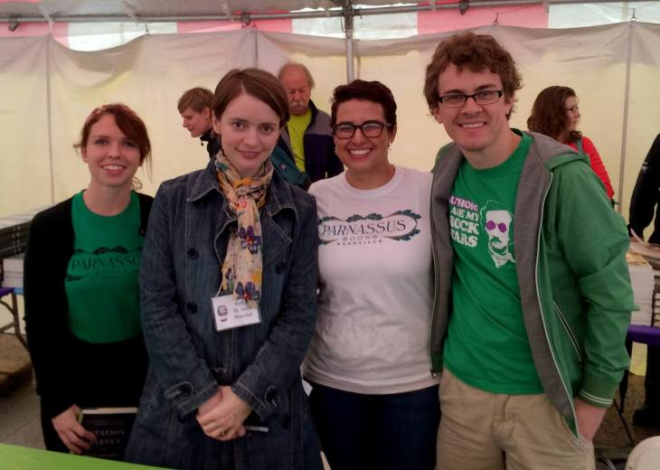 Catherine, Lauren, and Tristan with Emily St. John Mandel (in nametag), author of Station Eleven and your personal gift-helper