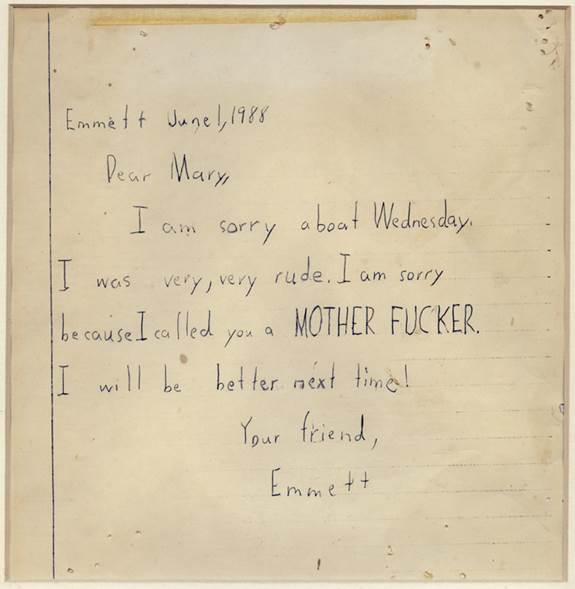 A note written from Mann's son Emmett to a friend in 1988