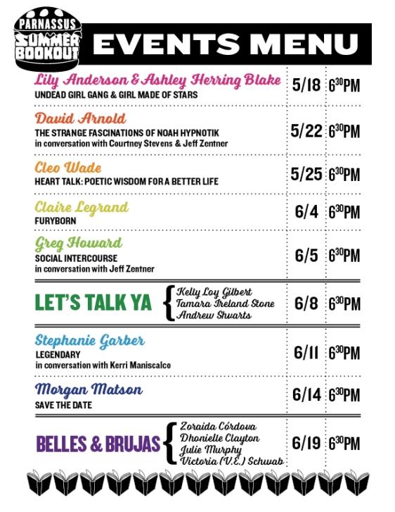 Summer Book Out event menu